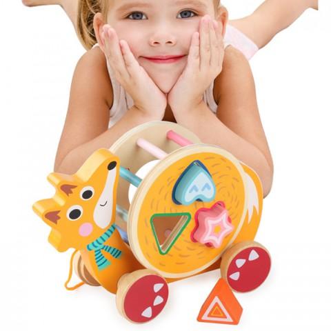 Đồ chơi gỗ xe kéo thả hình khối con cáo vui vẻ