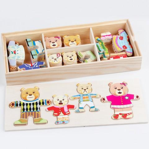 Đồ chơi gỗ thay trang phục cho gia đình gấu