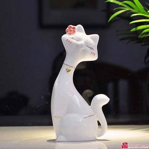 Đôi mèo sứ vẽ vàng