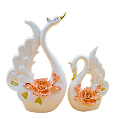Đôi Thiên Nga gốm sứ hoa hồng nghệ thuật 1302