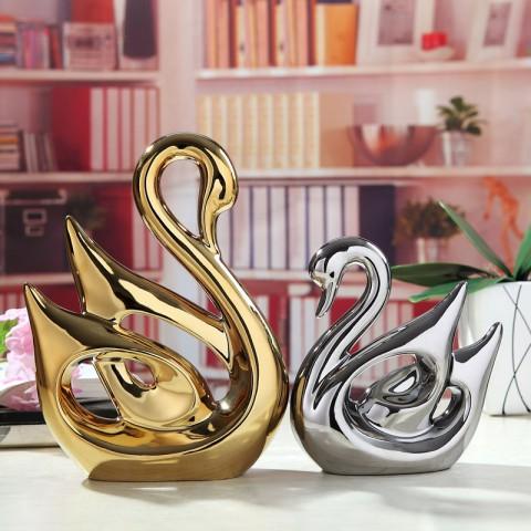 Đôi Thiên Nga gốm  sứ mạ Vàng Bạc