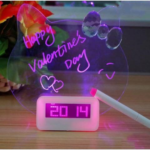 Đồng hồ điện tử bảng viết huỳnh quang kitty