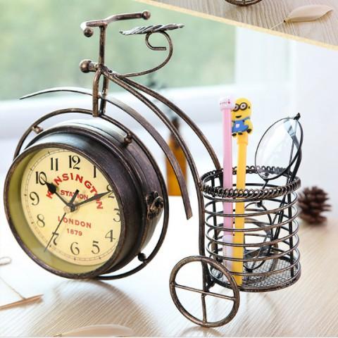 Đồng hồ để bàn 2 mặt xe đạp đen bánh cao cổ điển 0907