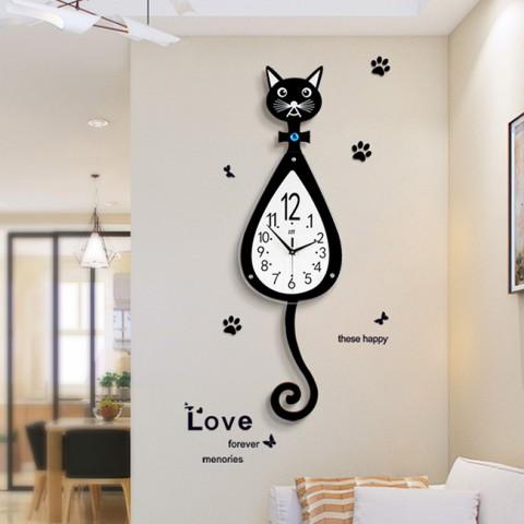 Đồng hồ treo tường mèo đuôi dài quả lắc