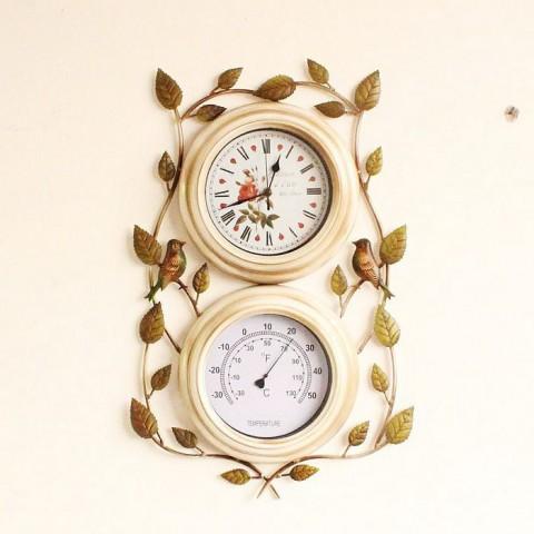 Bộ đồng hồ nhiệt kế treo tường kiểu thiên nhiên
