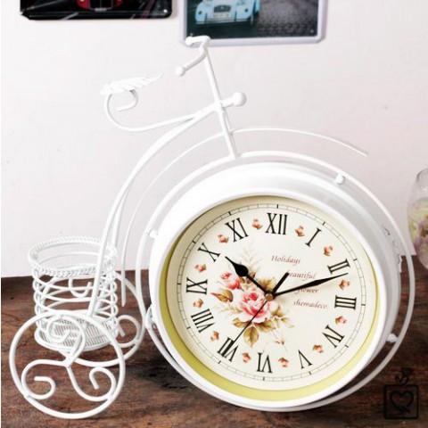 Đồng hồ để bàn 2 mặt xe đạp trắng bánh cao nghệ thuật 0907
