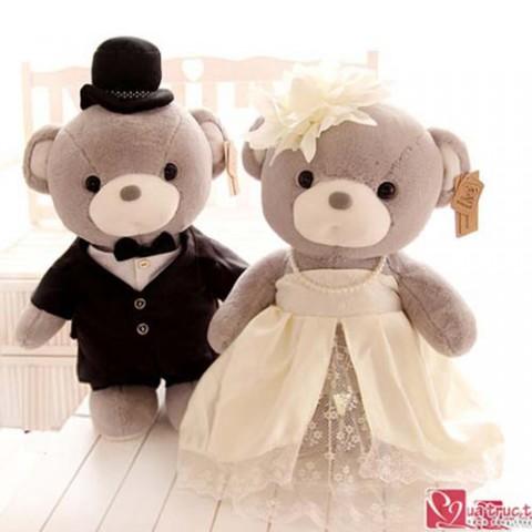 Gấu bông đôi cô dâu chú rể xám