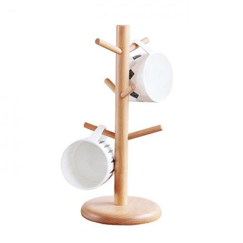 Giá treo cốc bằng gỗ đế tròn kiểu tán cây