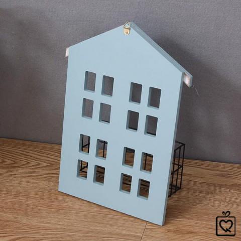 Giá gỗ treo tường hình ngôi nhà kèm kệ sắt