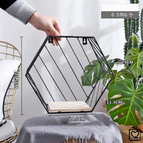 Giá sắt trang trí treo tường hình lục giác