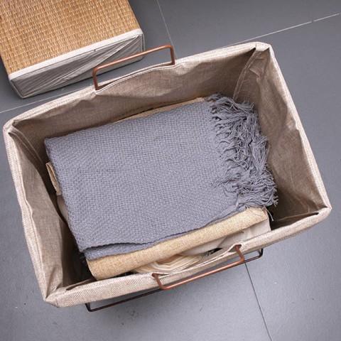 Giỏ đựng quần áo, đồ dùng bằng vải canvas khung sắt gấp gọn Vintage