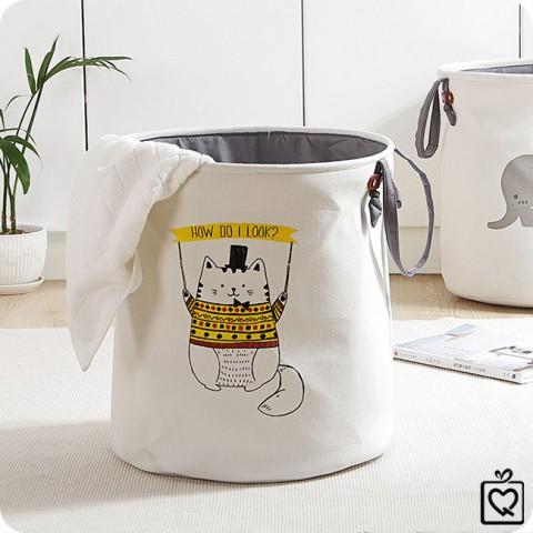 Giỏ vải tròn đựng đồ có quai xách chú mèo mập