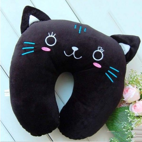 Gối chữ U kê cổ hoạt hình - mèo đen