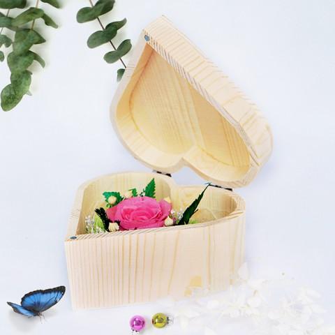 Hoa hồng bất tử hộp gỗ trái tim - Hồng phấn
