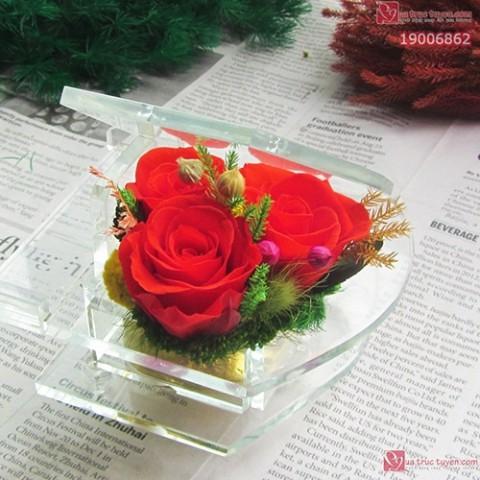 Hộp nhạc Hoa hồng bất tử - Cung đàn tình yêu-đỏ