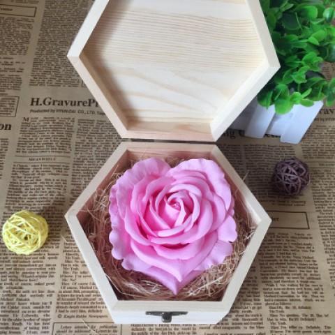 Hoa hồng sáp thơm - 1 bông hộp gỗ