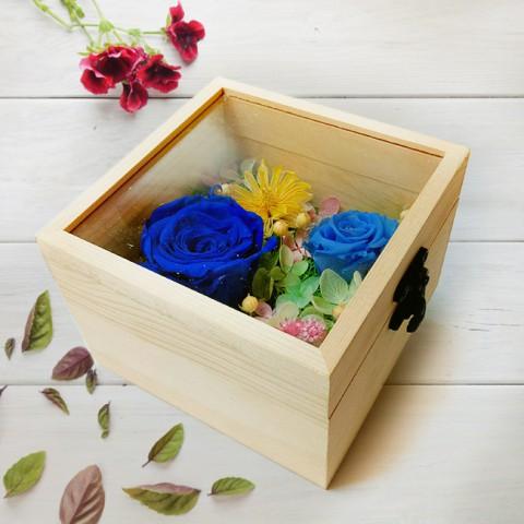 Hoa hồng bất tử hộp gỗ vuông - Hồng xanh