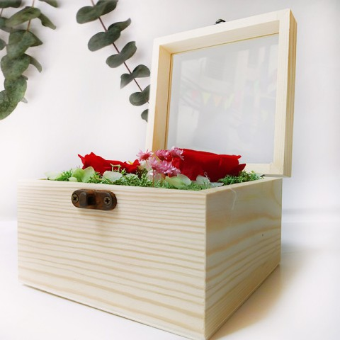 Hoa hồng bất tử hộp gỗ vuông - Hồng đỏ