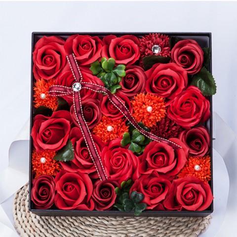 Hoa hồng sáp thơm Gift set màu đỏ