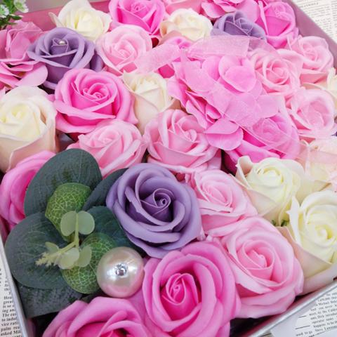 Hoa hồng sáp thơm Gift set màu hồng