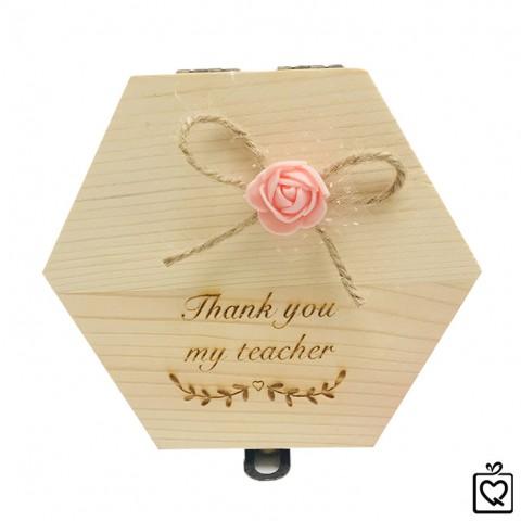 Hoa hồng sáp thơm phát sáng khắc thông điệp - Thank You My Teacher