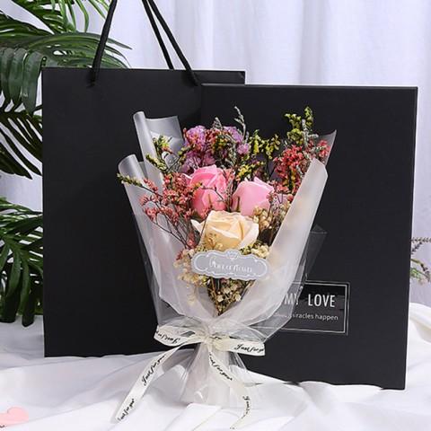 Hộp quà hoa sáp thơm đèn led