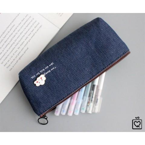 Hộp bút vải đính kim loại