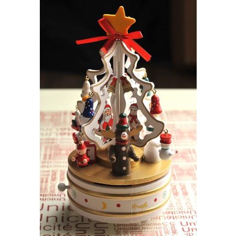 Hộp nhạc cây thông Noel gỗ-trắng