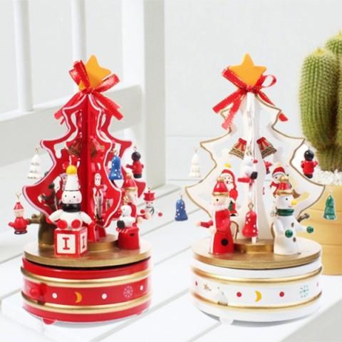 Hộp nhạc cây thông Noel gỗ