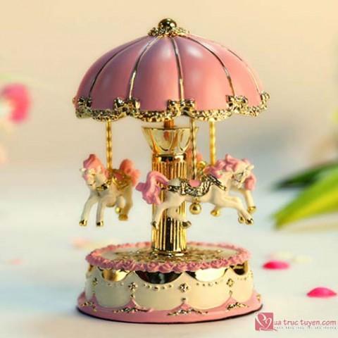 Hộp nhạc đu quay ngựa Carousel - hồng vàng 60220 (19cm)