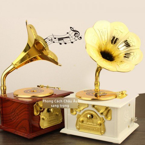 Hộp nhạc máy hát cổ điển - trắng