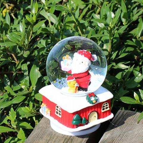 Hộp nhạc noel ngôi nhà tuyết và quả cầu pha lê
