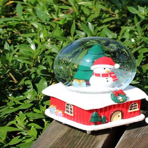 Hộp nhạc Noel ngôi nhà tuyết có đèn led
