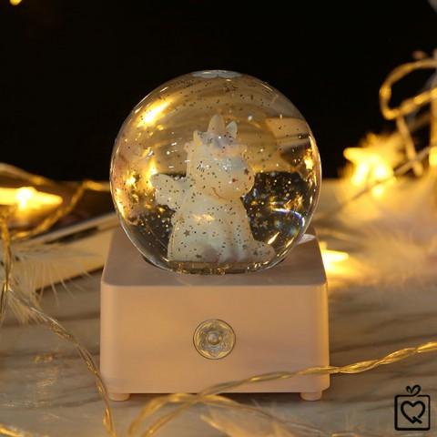 Hộp nhạc quả cầu pha lê tuyết kim sa - Kỳ lân