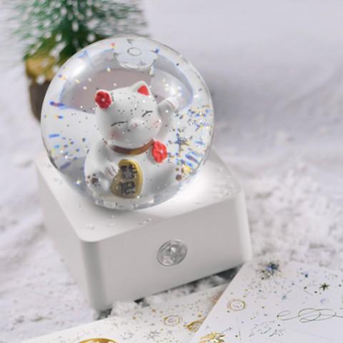 Hộp nhạc quả cầu pha lê tuyết kim sa - Mèo may mắn