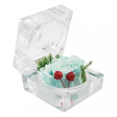 Hoa hồng bất tử - Hộp nhẫn-Xanh Indigo