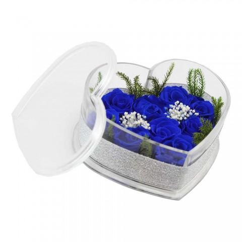 Hoa hồng bất tử - Hộp tim 9 bông hồng-xanh