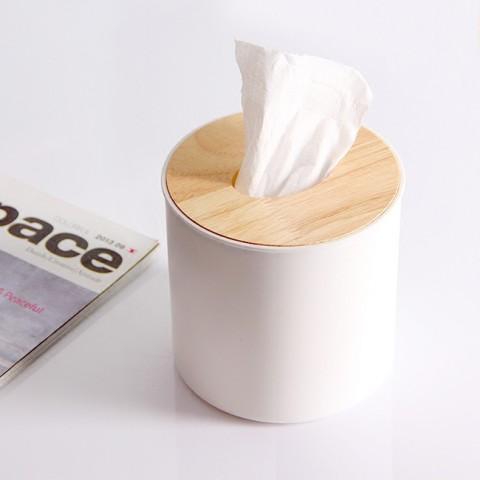 Hộp đựng giấy trắng nắp gỗ kiểu tròn