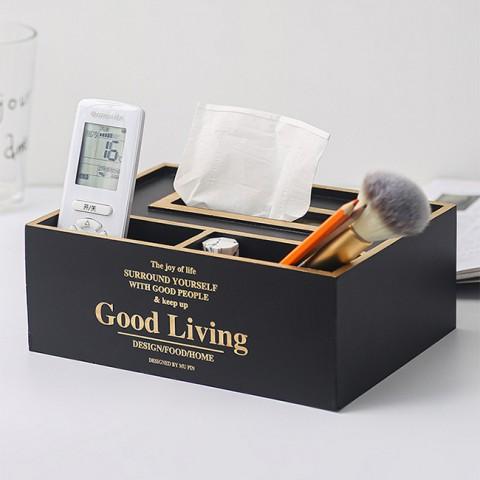 Hộp gỗ đựng giấy 3 ngăn Good Living