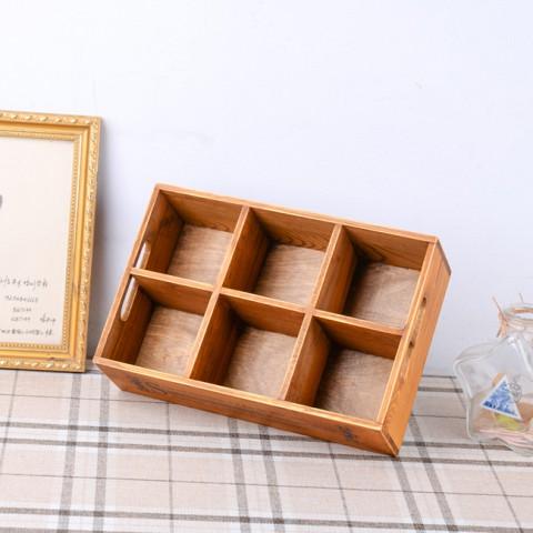 Hộp gỗ vintage đựng đồ 6 ngăn