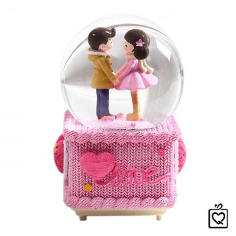 Hộp nhạc quả cầu thủy tinh cặp tình nhân - Love