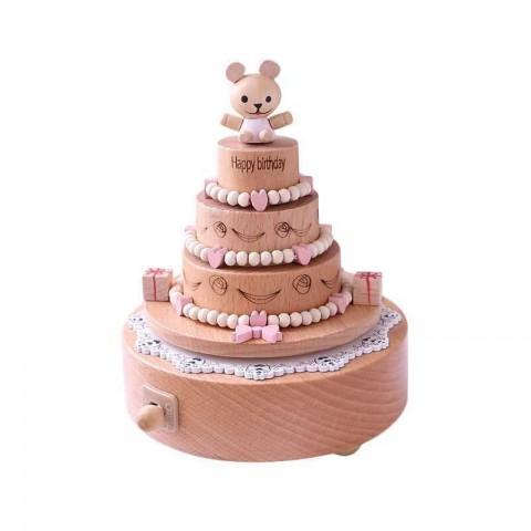 Hộp nhạc gỗ xoay cao cấp-Bánh Sinh Nhật
