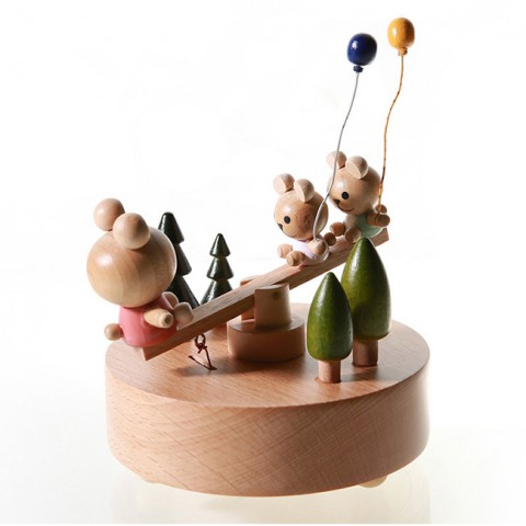 Hộp nhạc gỗ cao cấp-Gấu bập bênh