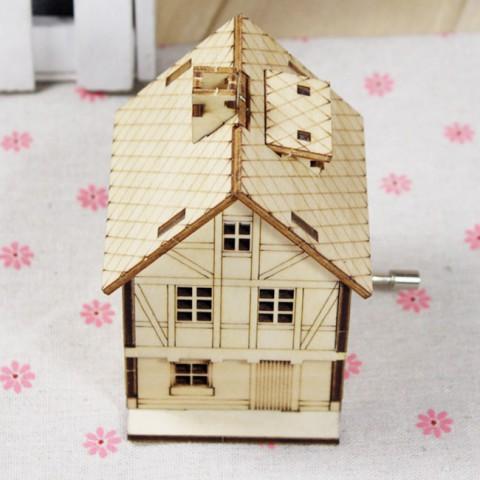 Hộp nhạc gỗ quay tay hình ngôi nhà lắp ghép DIY