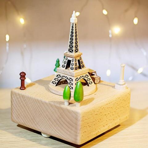 Hộp nhạc gỗ cao cấp-Tháp Eiffel