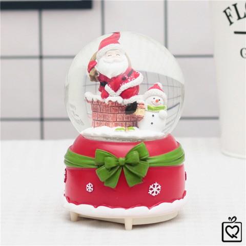 Hộp nhạc quả cầu tuyết giáng sinh-ông già noel và người tuyết-10cm