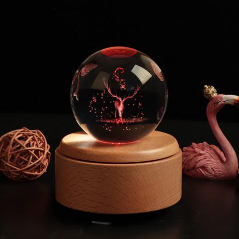 Hộp nhạc quả cầu pha lê 3D-Tuần Lộc - Quà tặng lưu niệm