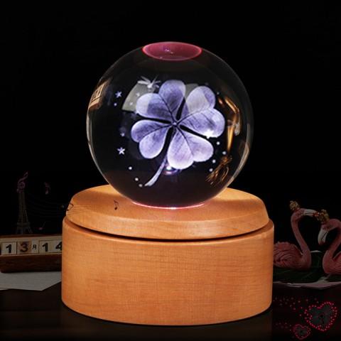 Hộp nhạc quả cầu pha lê 3D-Cỏ 4 lá
