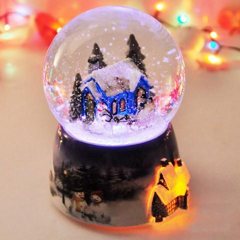 Hộp nhạc quả cầu tuyết giáng sinh kèm đế xoay tròn - Đêm Noel ấm áp