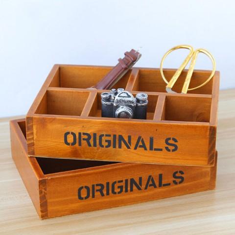 Hộp vintage gỗ đựng đồ 5 ngăn